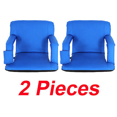 2 Pcs Folding Stadium Seat Chair Bleachers Benches - 5 Reclining Positions