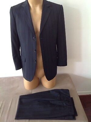 Mens Blue Pinstriped ZZEGNA Suit Size Euro 48 ....