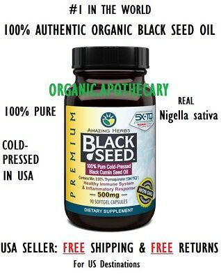BEST 100% PURE Black Seed Oil 90 Softgel Capsules (NON-GMO HALAL) COLD PRESSED