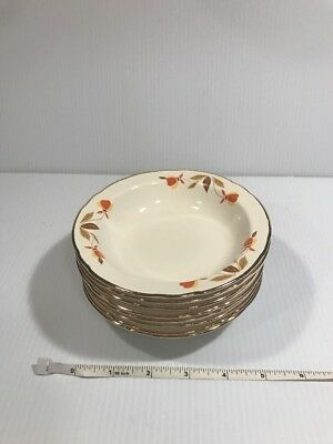 "Vintage Hall Jewel Tea Autumn Leaf Fruit Or Dessert Bowls 5 1/2"" (8)"