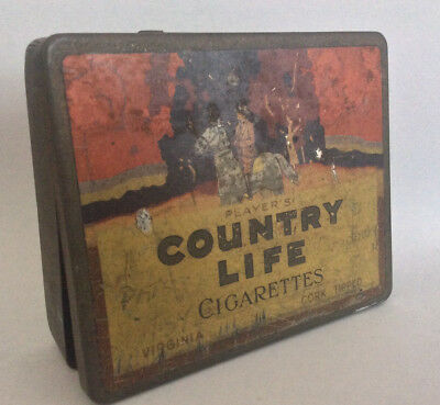 Vintage Players COUNTRY LIFE CIGARETTE TIN Australian smoking tobacco grocery