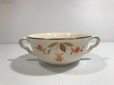 Jewel Tea Autumn Leaf Two Handle Cream Soup Bowl Hall China Euc