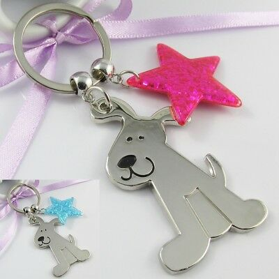 Dog Lovers Star Pup Charm Keychain Bag Tag 100mm Pick Blue or Pink Glitter Star