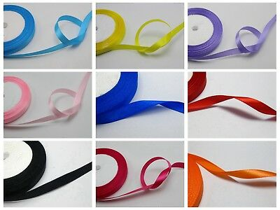 "50 Yards 10mm (3/8"") Satin Ribbon Gift Bow Wedding Craft Pick Your Color"