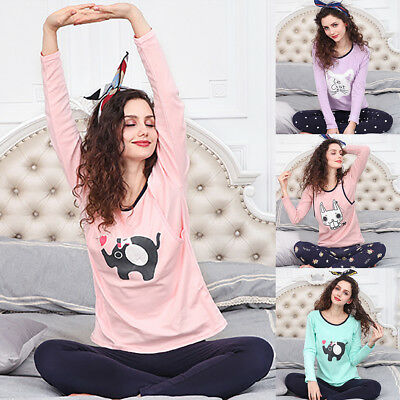 KD_ Maternity Sleepwear Suit Pregnant Women Breastfeeding Pajamas Set Natural