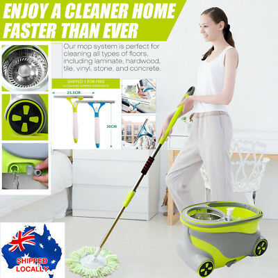 360° Rotating Magic Floor Mop Bucket 2 Head Microfiber Stainless Pole Spin MOP