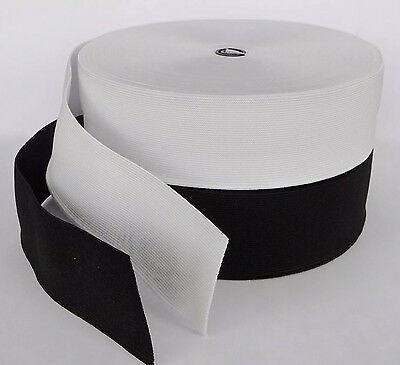 """50"""" mm (2"""" inch) Flat Woven Quality Sewing Elastic Black / White 25 Metre Roll"""