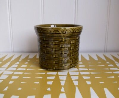 Vintage Lord Nelson Pottery Basketweave effect Plant Pot Cover. 70s Retro