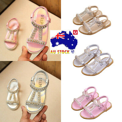 AU Girls Childrens Princess Crystal Sandals Kids Shoes Casual Formal Party Flats