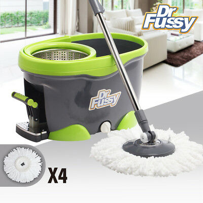 360 Rotating Magic Spin Dry Mop Stainless Steel Bucket Pedal 4 Microfiber Heads