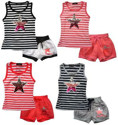 Girls Shorts Stripe Vest Top Outfit Sparkle Rainbow Sequin Star Set 2 - 12 Years