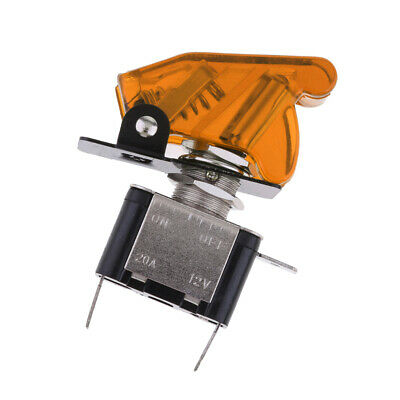 12V 20A Yellow LED Light Toggle Switch SPST ON/OFF with Cover For Car Truck