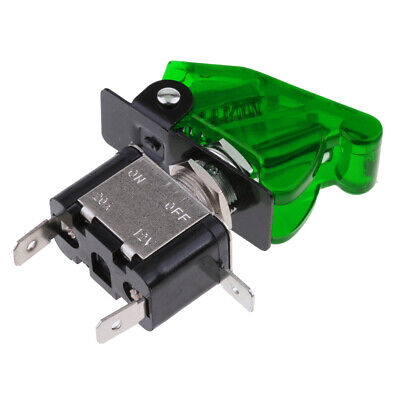 12V 20A Green LED Light Toggle Switch SPST ON/OFF with Cover For Car Truck