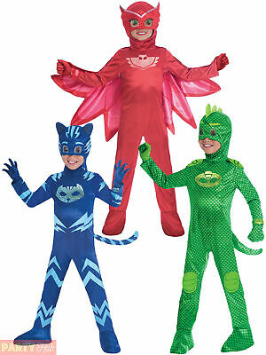 Childs Deluxe PJ Masks Costume Boys Girls Superhero Fancy Dress Official Outfit