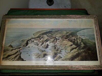 Bird's-Eye View of the Panama Canal Feb.1912 National Geographic Magazine Framed