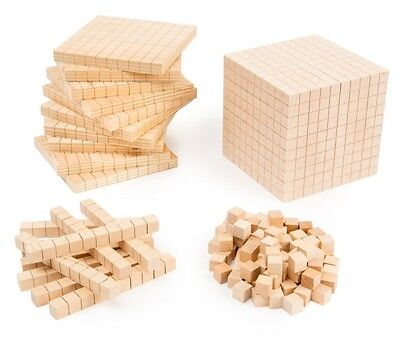 MAB Base Ten Maths Blocks Student Wooden 121 Pieces Teacher Resource Place Value