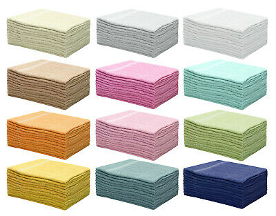 New Cheap Hand Towels Budget Quality 300 Gsm Set Of 12 Solid Colours