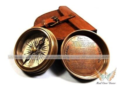 """Antique Vintage Style Brass Pocket 2.3"""" Compass With Leather Case Camping Hiking"""