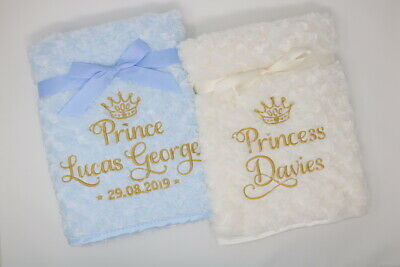 Personalised Prince Princess Luxury Fluffy / Dimpled / Fleece Baby Blanket