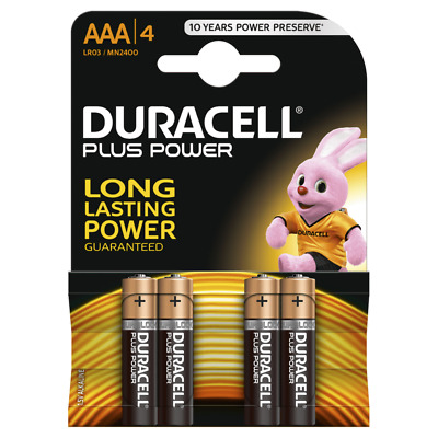 Duracell AAA Batteries Plus Power LR03/MN2400 Battery / Alkaline 1.5V / 4 Pack