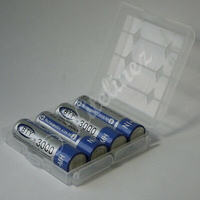 4x AA 3000mAh BTY Rechargeable Batteries + strong CASE, Heavy Duty HIGH CAPACITY