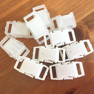 Delrin side release buckle fasteners 10mm sold per 5 fasteners white or clear