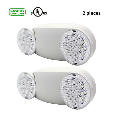 2PCS Indoor LED Emergency Exit Light Standard Round Head Lamps Light Fixtures
