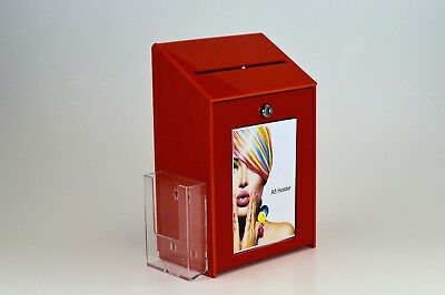 Lockable Collection / Suggestion Box + 1/3rd A4 Leaflet Holder PDS9463 LH Red