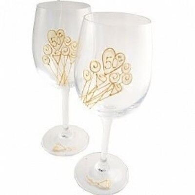 50th Wedding Anniversary Wine Glasses Pair. Dreamairshop Ltd UK
