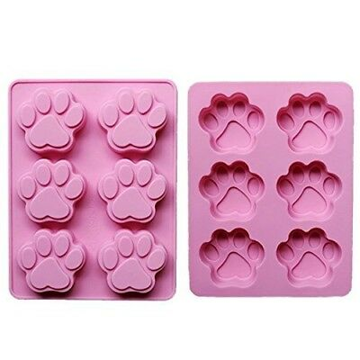 HUAL Silicone DOG Pet Animal Paw Print Ice Cube Chocolate Soap Candle Tray