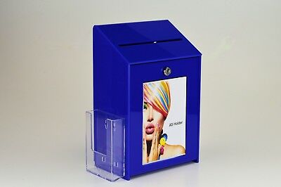 Lockable Collection / Suggestion Box + 1/3rd A4 Leaflet Holder PDS9463 LH Blue