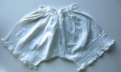 Antique Toddler's Child's Doll White Cotton & Lace Bloomers Pantaloons