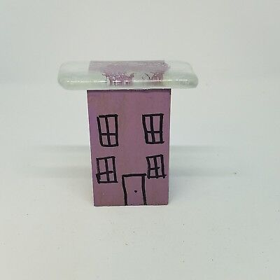 Recycled Glass Wood Whimsical Modern House Assemblage Lavender Purple