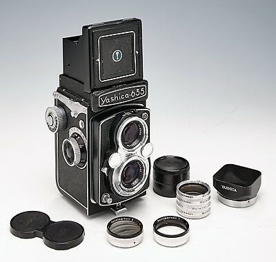 YASHICA 635 TWIN LENS REFLEX FILM CAMERA + lens hood and various filters