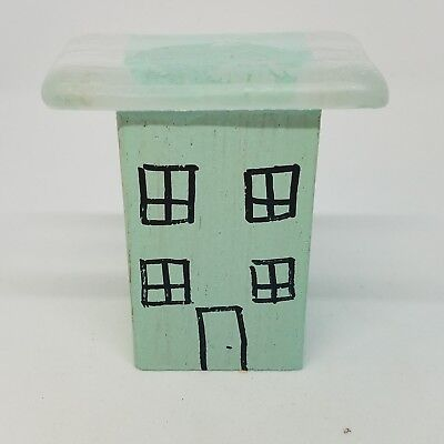 Whimsical Wood Small House with Recycled Glass Roof Light Blue
