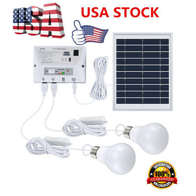 Portable Solar Power Panel LED Light USB Charger Home System Kit Garden Outdoor