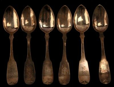 6 J.g. Maree Coin Silver Coffee Spoon Set Lot - Tennessee - 105 Grams