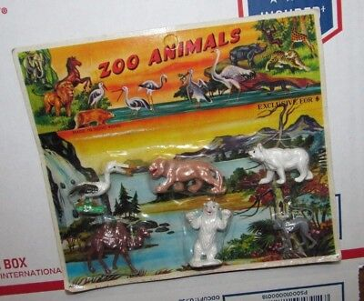 Zoo Animals Vintage Carded On Card Hong Kong Plastic Figures Dime Store Toy