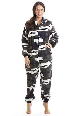 Camille Womens Snow Camouflage Soft Fleece Zip Front Hooded All In One Sleepsuit
