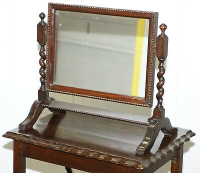 Regency 1815 Table Top Cheval Mirror Original Plate Glass Glass Barley Twist