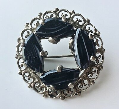 Antique Victorian Style Silver Tone Black & White Strip Agate Circle Brooch