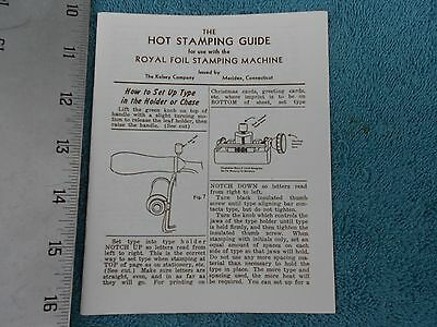 The Hot Stamping Guide, Royal Foil Stamping Machine, The Kelsey Company,