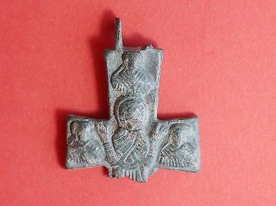 Byzantine Bronze Cross Encolpion with 4 saints BROKEN 1810H