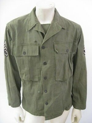 Vintage WWII 3rd Pattern HBT Herringbone Twill Jacket with Patches