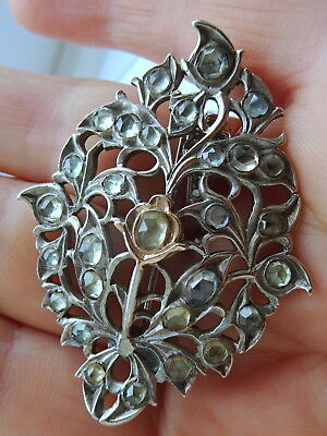 Antique Georgian Silver and Gold Jargoon Brooch