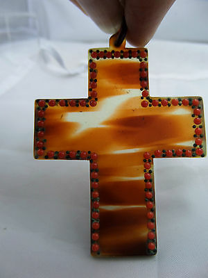 Georgian Carved T Shell  Cross Pendant set with Red Glass and steel studs