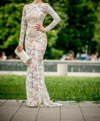 Prom Wedding Lace Long Dress With Long Sleeves Champagne White Size 36 / 38 S/M