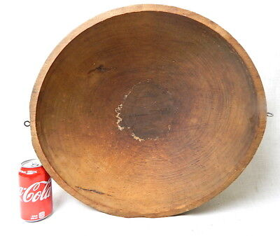 Antique Large Hard Wood Wooden Butter Dough Mixing Bowl Tureen Primitive AAFA