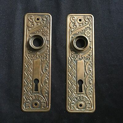 Antique Pair Of Brass Victorian Eastlake Corbin Cairo Backplates