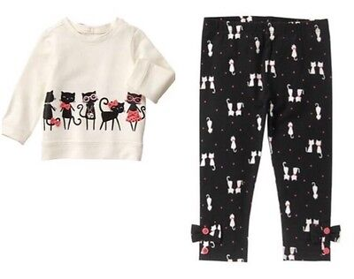 Gymboree Kitty in Pink 2T Cat Shirt & Kitty Leggings Set Gray Black